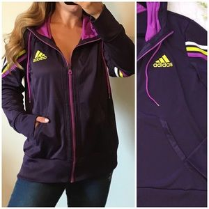ADIDAS Purple Athletic Full Zip Hooded Jacket XL